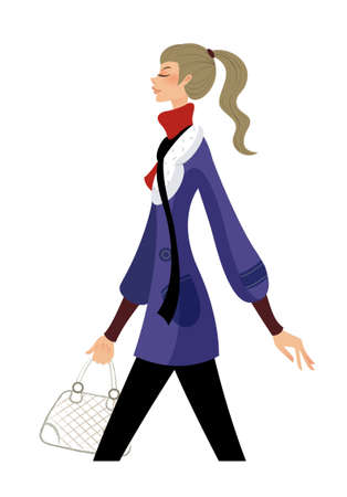 side view of woman standing Vector