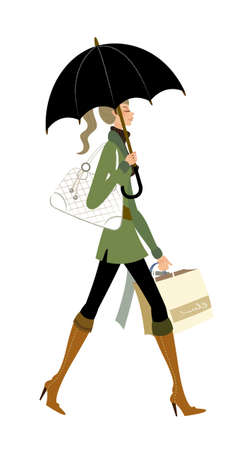 woman with umbrella: side view of woman walking Illustration