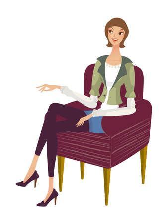 side view of woman sitting Stock Vector - 15872213