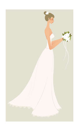 side view of woman in bride dress Vector