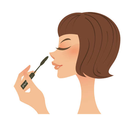 close-up of woman holding mascara Stock Vector - 15878820