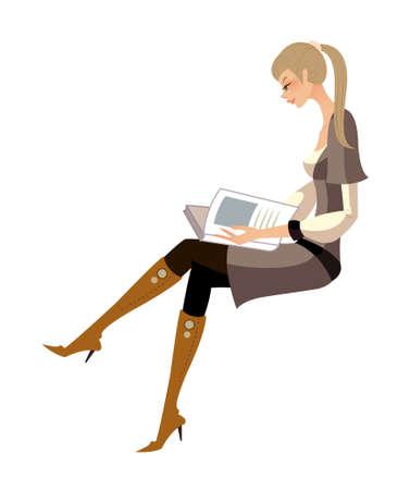 egy fiatal nő csak a: oldalnézetből nő ül