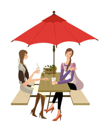 side view of women sitting on chair Vector