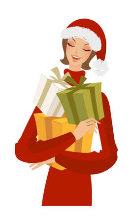 close-up of woman holding gifts Vector