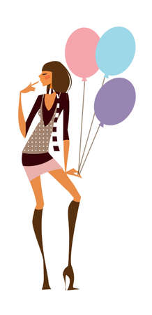 close-up of woman holding balloon Vector