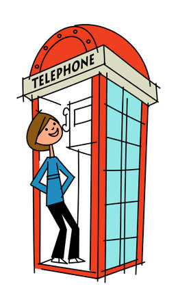 telephone booth: side view of man standing by telephone booth