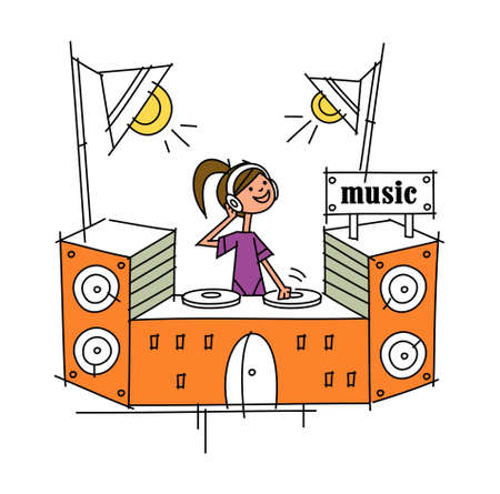side view of woman listening music Stock Vector - 15878730