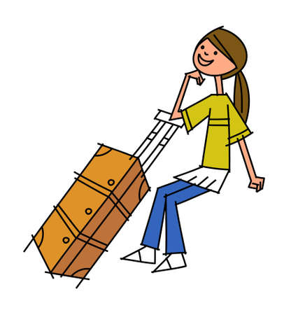 side view of woman holding suitcase Stock Vector - 15878857
