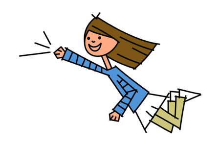 donna volante: vista laterale della donna volante