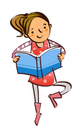 close-up of girl reading book Stock Vector - 15878307