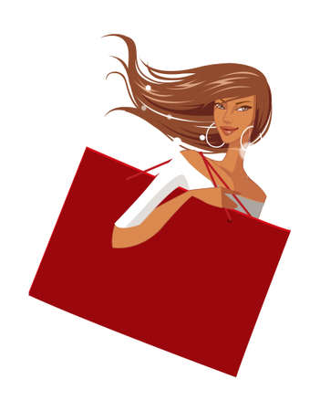 close-up of woman holding bag Stock Vector - 15872418