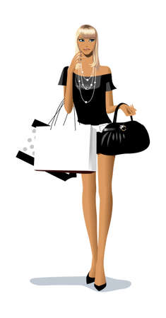egy fiatal nő csak a: Közelkép nő, kezében bevásárló táskák