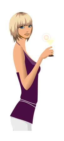 side view of woman holding glass Vector