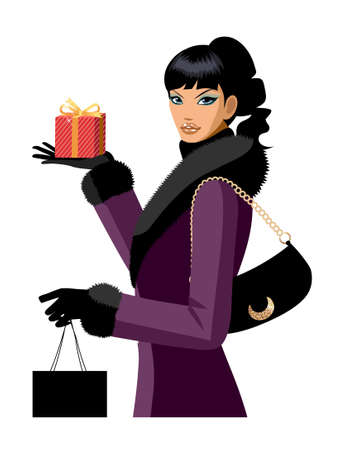 side view of woman holding gift Vector
