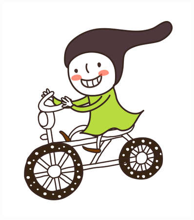 side view of girl riding bicycle Stock Vector - 15877895