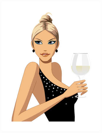 close-up of woman holding wineglass Vector