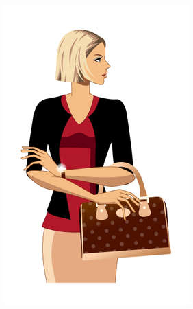 close-up of woman holding bag Stock Vector - 15873197