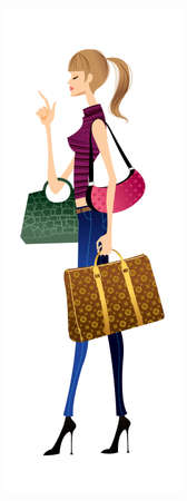 side view of woman holding bags Vector