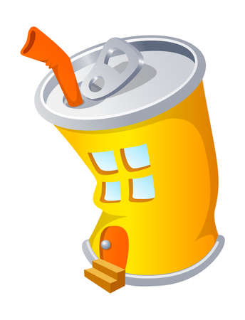 Vector icon can and house Stock Vector - 15910672