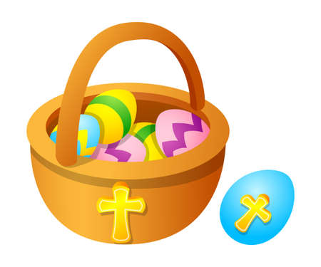 Vector icon easter egg and basket
