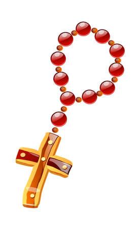 kruzifix: vector icon Rosenkranz