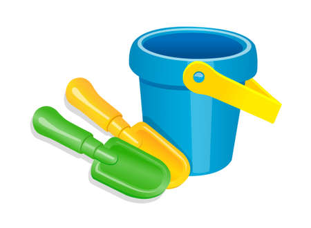 icon toy shovel and bucket Stock Vector - 15920664