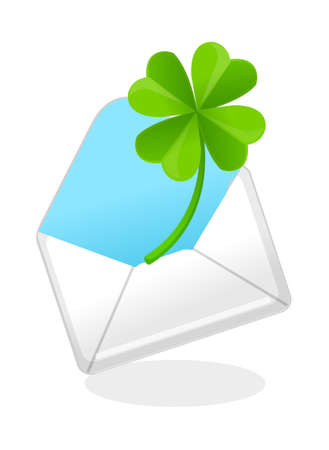 vector icon mail and clover Stock Vector - 15993848