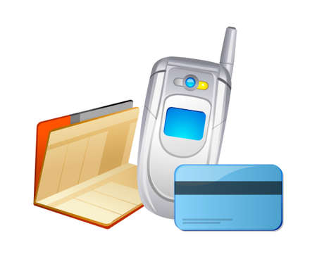 vector icon mobile phone and bankbook Stock Vector - 15995615