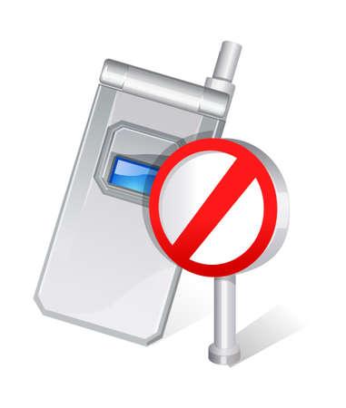interdiction telephone: vecteur ic�ne interdiction de la t�l�phonie mobile Illustration