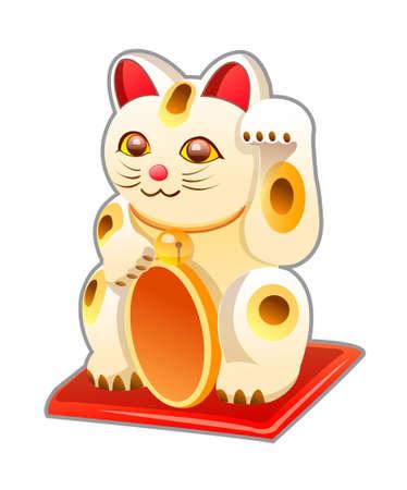 maneki neko: vector icon japanese cat toy Illustration