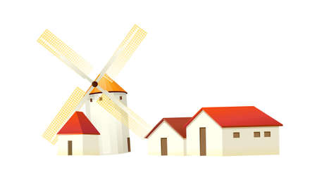icon windmill and house Stock Vector - 15993793