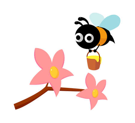 icon flower and bee Vector