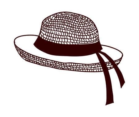 sombrero de paja: vector icono Vectores