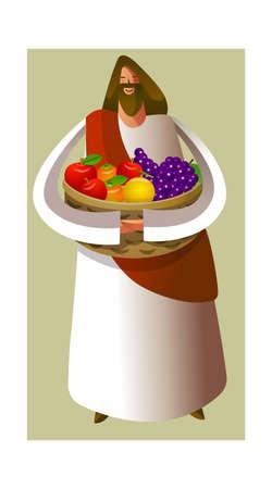 canasta de frutas: Primer plano de Jes�s Cristo cesta de fruta holding Vectores