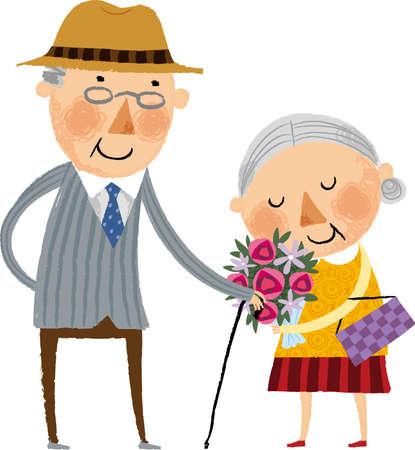 alte frau: Der Blick der alten Frau h�lt eine Blume