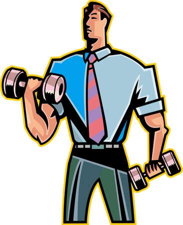 hombre levantando pesas: El hombre es levantar pesas Vectores