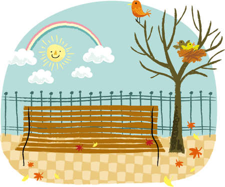 The view of bench in the park Vector