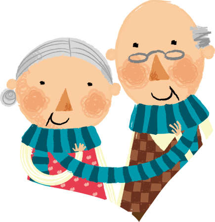 The view of old couple with muffler Illustration