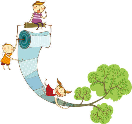 toilet paper art: The view of children with toilet paper Illustration
