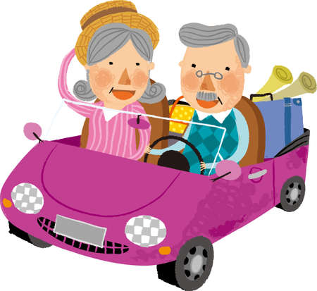 The view of old couple in the car Vector