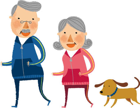 The view of old couple is running Illustration