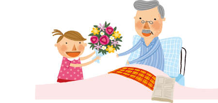 bedclothes: The girl is giving a bouquet Illustration