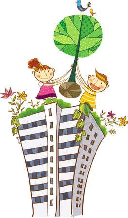 baum pflanzen: Der Blick auf die Kinder einen Baum pflanzen Illustration