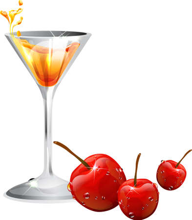 dewdrops: The view of cocktail with cherry