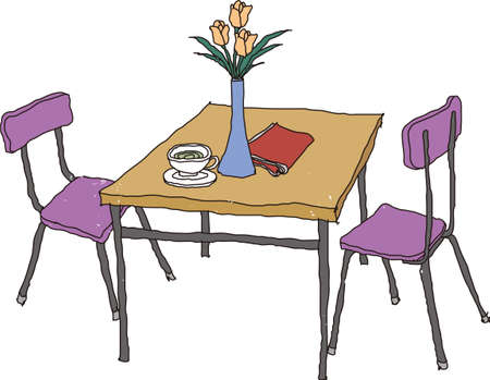 serviette: The view of table with chair