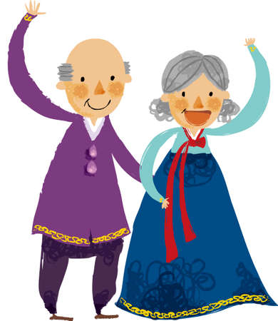 granny and grandad: The view of old couple are waving a hand Illustration