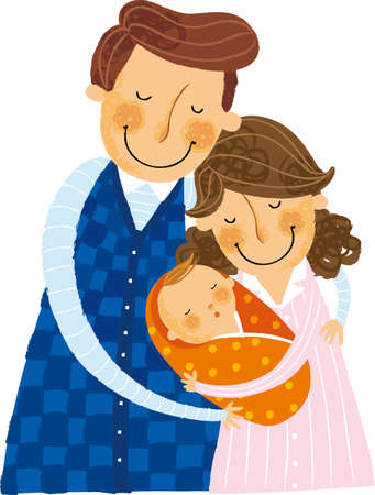 matting: The view of parents is holding a baby Illustration