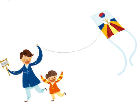 The view of man fly a kite with boy Vector