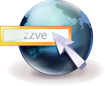 mouse cursor: The view of globe with mouse cursor  Illustration