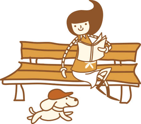 The view of girl on the bench Vector